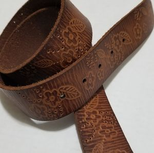 Fossil S/M Floral Tooled Leather Tan Buckle Belt